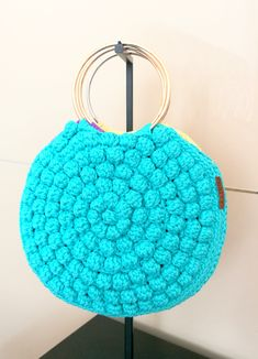 ***Crochet round bubble bag. Small round bubble summer bag. The must-have purse of the season. Trendy crochet bag from the strong rope.