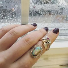 Two Edwardian beauties we added to our website! A 14k gold boulder opal & rose cut diamond ring that has the most insane color flash and a double mixed metals moveable ruby and diamond snake ring. Both would be fabulous additions to anyones ring collection. Take a look on abrandtandson.com!
