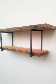 Square Shelf Bracket Set - Two (2) Handmade Industrial square steel brackets - Hardware and Instructions Included