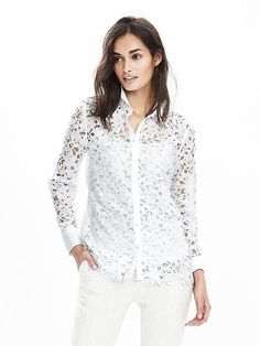 Floral lace meets classic button-front styling in our sheer shirt | Banana Republic