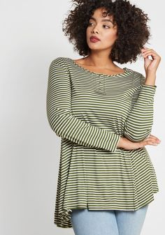 6f47b1e9b86 At It Again Henley Tunic in Striped Olive Olive  vert  ModCloth Long A Line