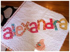 The Original Personalized Quilt, baby quilt, Raw Edge Applique Quilt, Name Quilt. $95.00, via Etsy.