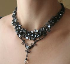 Gothic Heart - black gothic style crocheted hematite wire wrapped statement necklace. $52.00, via Etsy.