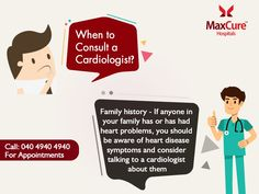 Want to Consult a Cardiologist? For Appointment Call: 040 4940 4940 Visit: https://maxcurehospitals.com/ #MaxCureHospitals #MaxCure #Cardiology #Cardiologist #FamilyCareDoctors #FamilyHistory #HeartDisease #HeatProblem #ConsultExperts #ConsultOurDoctors #Hyderabad