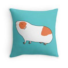 Proud Orange and White Guinea-pig Throw Pillows