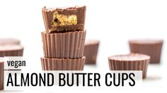Dark Chocolate Almond Butter Cups -- a simple, delicious and healthy vegan dessert recipe that combines dark chocolate with fluffy almond butter and crispy q...