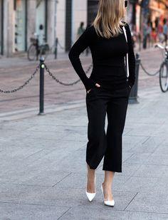 Crisp in Black via BrooklynBlonde.com / @Helena Glazer Pants: Express | Turtleneck: Express | Shoes: Manolo Blahnik | Bag: Celine (borrowed from Wendy) Wednesday, September 30, 2015