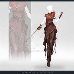(CLOSED) Adoptable Outfit Auction by JawitReen on DeviantArt - kleidung Dress Drawing, Drawing Clothes, Fantasy Character Design, Character Design Inspiration, Anime Outfits, Cool Outfits, Costume Chat, Anime Dress, Character Outfits