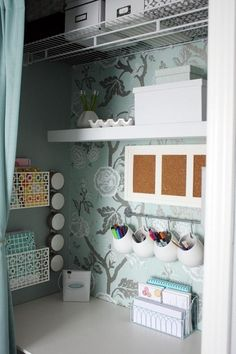 Small office space - LOVE the printed accent wall with the solid colored wall