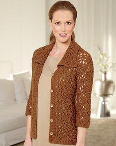 Textured Jacket...Lion Brand LB Collection Organic Wool, K hook.