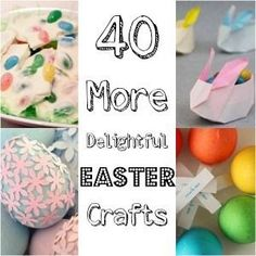 40 Easter Crafts that will delight you! We love these great Easter DIYs for all the family. From great Egg Decorating ideas to Easter Bark. Make your own DIY Easter Baskets and have fun with the kids #Easter #eastercrafts