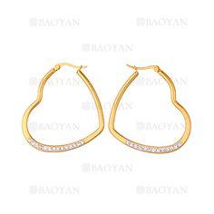 38*41mm aretes de corazon con cristal de dorado en acero-SSEGG814602