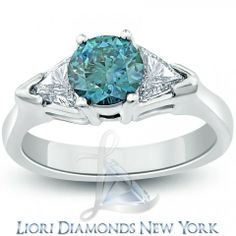 2.01 Carat Three Stone Fancy Blue Natural Diamond Engagement Ring 14k White Gold - Fancy Color Engagement Rings - Engagement - Lioridiamonds.com
