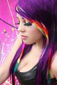 Purple hair with rainbow stripe