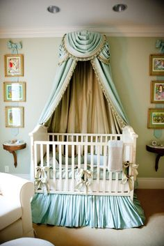 Nursery. Elegant. Fancy. Royal. Regal. Canopy. Silks. Fabric. Crib. Sophisticated. Princess. Furniture. Blue.
