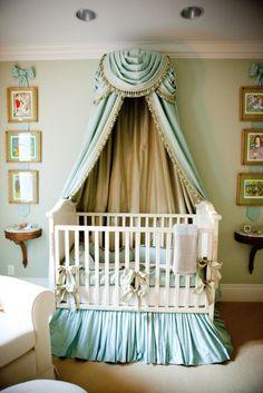 Nursery. Elegant. Fancy. Royal. Regal. Canopy. Silks. Fabric. Crib. Sophisticated. Princess. Furniture. Blue.