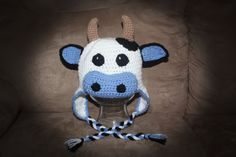 Cow/Bull Hat pdf PATTERN, size newborn to adult, farm animal hat to crochet… Crochet Animal Hats, Crochet Cow, Crochet Baby Boots, Crochet Kids Hats, Crochet For Boys, Crochet Gifts, Crochet Yarn, Knitted Hats, Cow Hat