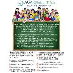 New study at AGA Clinical Trials!  For what? The FLU For who? Minors between 5 & 17 years of age  Contact us today for more information about this and other studies at786-343-2486  #ClinicalTrials #AGAClinicalTrials #AGA #Hialeah #Kids #Studies #FLU #Vaccine #Miami #Florida #Research #Trials #Pharmacy #Medicine #Neostart #EstudiosMedicos #Estudios #Farmacia #Farmaceuticos #Medicina #Gripe #Moms #Mama