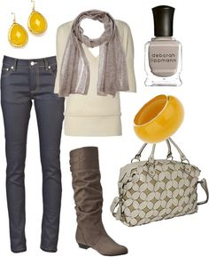 """""""pops of yellow"""" by htotheb on Polyvore"""
