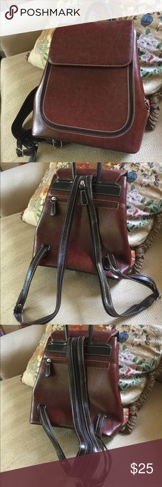 NWOT faux leather backpack Fashionable small faux leather backpack - straps can separate to wear over both shoulders or zip them together for one strap to wear over one shoulder Bags Backpacks