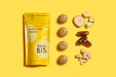 Basic Bits Snack Balls Packaging Design Food Packaging Healthy Energy Snack Bar Stand Up Pouch Logo Design Brand Identity Miami Beach Florida Banana Snack Ball Dessert Packaging, Food Packaging Design, Branding Design, Chip Packaging, Product Packaging, Design Agency, Easy Healthy Breakfast, Healthy Dinner Recipes, Snack Recipes