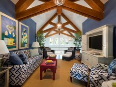 "HGTV Dream Home 2013: Loft Pictures    The casual family gathering space enjoys both marsh and great room views and takes advantage of the home's soaring vaulted ceiling ~ Interior designer Linda Woodrum describes the loft space as her ""blue sky room"" — and for good reason. The selection of intense blue upholstery fabrics is directly related to views from the great room's dramatic wall of glass."
