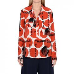 --evaChic--This Stella McCartney Estell Thanks Girls Polka Dot Print Silk Shirt from SS17 collection epitomizes the designer's eco-friendly fashion spirit as well as her 'girl power' message. Contrast front and back oversize polka dot motifs are enriched with 'Thanks Girls' and 'No Leather' lettering for catwalk-worthy outings        https://www.evachic.com/product/stella-mccartney-estell-thanks-girls-polka-dot-print-silk-shirt/