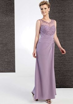 Absorbing Straps V-neck Embroider Pleated Appliques Column Mother Of The Bride Dress.