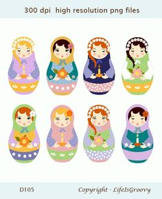 8 lovely russian dolls matryoshka dolls D105  by lifeisgroovy, $5.25