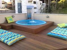 waterfall over a Jacuzzi tub Small Backyard Pools, Small Pools, Backyard Patio, Jacuzzi Outdoor, Jacuzzi Tub, Ideas De Piscina, Piscine Diy, My Pool, In Ground Pools
