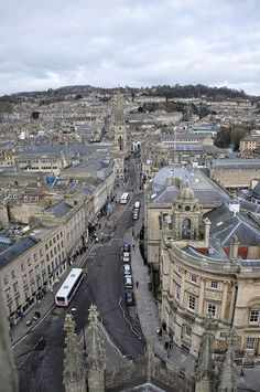 A peregrine falcon's eye view from the top of the Abbey, looking up the High Street. Bath, England