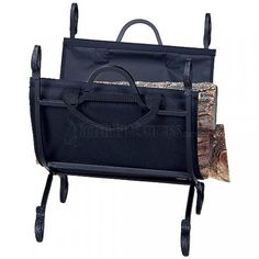 http://www.northlineexpress.com/black-wrought-iron-log-holder-with-canvas-carrier-w-1118-9127.html This wood rack is a stylish yet practical hearth accessory. It's perfect for holding an armload of wood conveniently on your hearth and has a heavy-duty canvas carrier to help carry firewood to your fireplace with out strain or the mess of wood chips and bark falling to the floor.