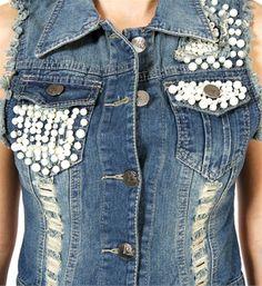 pearl embellished denim vest