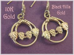 14K 10K Gold - Black Hills Gold Ivy Leaf Vine Grape Cluster Earrings - Yellow & Rose Gold  - FREE SHIPPING by FindMeTreasures on Etsy