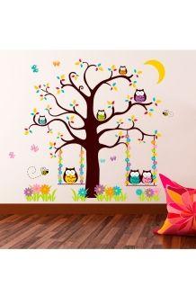 Autocolantes Corujas e árvores<br>Castanho