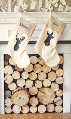 great his and hers christmas stockings with deer #rustic #deer #buck #stag #doe #burlap #stockin #christmas #affiliate #etsy