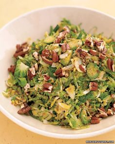 Shredded Brussels Sprouts with Pecans and Mustard Seeds