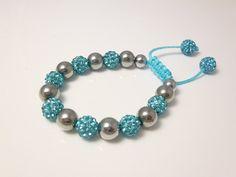Shamballa Bracelet Silver Bead Bracelet  by Perlizjewelcreations