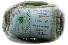 Geldgeschenke - Geschenk Goldhochzeit  Kissen mit Namen und Spruch - ein Designerstück von antjesdesign bei DaWanda