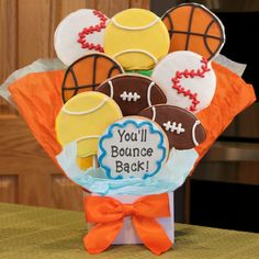 Bounce Back Soon Iced Cookie Bouquet | Purchase from Gourmet Cookie Bouquets  ( http://www.gourmet-cookie-bouquets.com/bounce_back_soon_iced_cookie_bouquet.html)
