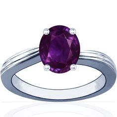 Untreated Oval Cut Purple Sapphire Ridged Contour Solitaire Ring (5.20cttw)