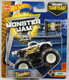 2017 Hot Wheels Monster Jam 1:64 Scale with Team Flag - Thunder 4x4 #HotWheels