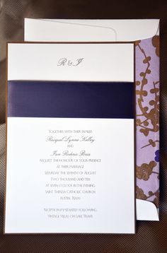 This very contemporary wedding invitation to St. Theresa Catholic Church in Austin, Texas was a cool lavender and gold combination. The satin ribbon is tucked between the layered papers to prevent frayed edges. The envelope lining has an Asian feel that ties all the elements together.  While these colors worked well for this couple, this concept is available in other color combinations and fonts.