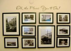 The Pin Junkie: Gallery Wall - oh the places you'll go gallery wall - paper template for picture wall