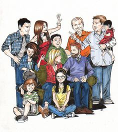 Modern Family: The whole gang before Fulgencios time. Modern Family Funny, Modern Family Quotes, Family Sketch, Family Drawing, Morden Family, Family Poster, Joelle, Family Illustration, Family Affair
