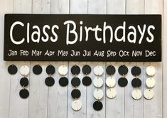 Classroom Birthdays Board - Black and White Classroom Decoration - Teacher Gift | 1000