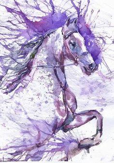 Laufendes Pferd Aquarell, Kunstdruck, Malerei von ValrArt auf DaWanda.com