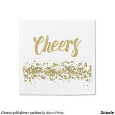 Cheers gold glitter napkins