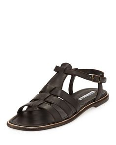 Canale+Flat+Cage+Sandal,+Tmoro+by+Manolo+Blahnik+at+Neiman+Marcus.