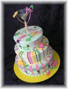40th Birthday Cake Ideas   40th Birthday with Martini Glass